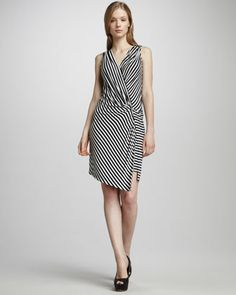 Striped Wrap-Illusion Dress by Ali Ro at Neiman Marcus.