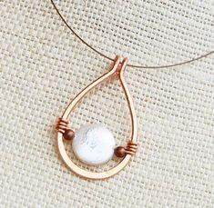 Copper Necklace. Minimalist. Copper. Coin. Pearl. Drop. Wire Jewelry.