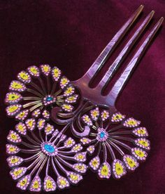 Sparkling Deco Hair Ornament Celluloid Comb Painted Peacock from everydaysagift on Ruby Lane