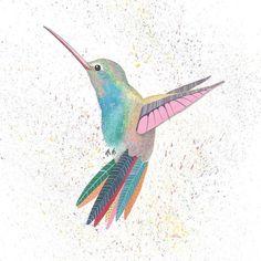 hummingbird giclee print fine art archival bird home decor gift illustration gouache