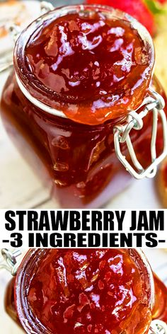 Quick and easy homemade strawberry jam recipe without pectin, requiring simple ingredients. Simple homemade jam recipe for cake or cookie fillings. From CakeWhiz.com