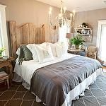 bedrooms - Sherwin Williams - Functional Gray - taupe walls gray blanket shams mismatched nightstands French doors gray antique chandelier  Kristin