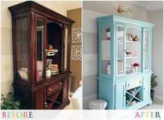 IHeart Organizing: Our New-To-Us Painted Dining Room Hutch i cannot believe this hutch makeover. Paint Furniture, Furniture Projects, Furniture Making, Home Projects, Home Furniture, Hutch Furniture, Dining Room Hutch, Dining Room Furniture, Kitchen Hutch