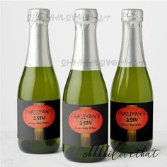 Shanghai Nights Chinese New Year Lanterns Bridal Bachelorette Shower Birthday Party Mini Champagne Bottle Labels - Digital File Only