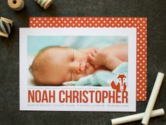 Little Fox Birth Announcement, Photo Baby Birth Announcement (set of 20) - mooi ontwerp met foto en vosje