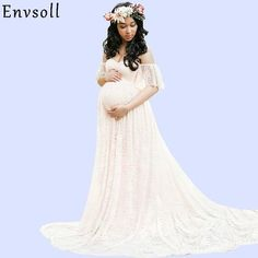e61e767df13d8 Envsoll Lace Maxi Gown Maternity Photography Props Pregnancy Dress  Maternity Dresses For Photo Shoot Pregnant Women Dress