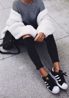 chunky knits + stripes + rips | minimalism in style