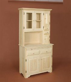 """Hoosier Cabinet Lam Brother's Unfinished Furniture Hoosier Cabinet  Beautiful solid pine reproduction of the old style hoosier   Dimensions: 35.5""""w  18""""d  73""""h  Price: $429"""