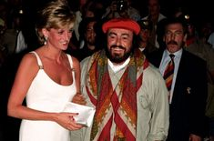 September 12, 1995 Princess Diana Warmly greeted by Luciano Pavarotti on her arrival at Concert in Italy to raise money for Bosnian Children