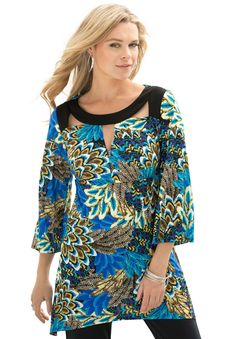 Ultra Smooth Cutout Tunic by Denim 24/7®   Plus Size Night Out   Roamans