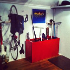 File cabinet flipped over and used as garage storage