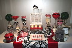 red black white candy bar station