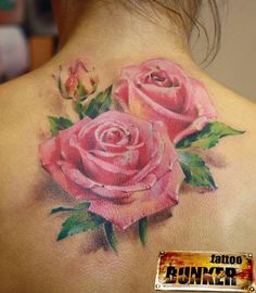 Pink Rose Back of Neck Tattoo.