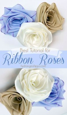 The best video tutorial for creating handmade ribbon roses from your favorite ribbons. The best video tutorial for creating handmade ribbon roses from your favorite ribbons. Ribbon Art, Fabric Ribbon, Ribbon Crafts, Flower Crafts, Ribbon Bows, Fabric Roses Diy, Ribbons, Making Fabric Flowers, Satin Flowers