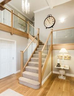 and wood Banister Staircase Renovations – Bespoke Staircases - Neville Johnson Stair Banister, House Staircase, Wood Staircase, Staircase Design, Staircase Ideas, Railings, Banisters, Glass Bannister, Glass Stairs