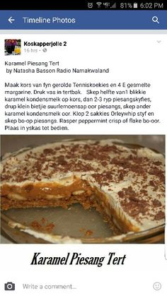 Banoffee Tart Recipes, Sweet Recipes, Baking Recipes, Dessert Recipes, Baking Desserts, Ma Baker, Kos, Fridge Cake, South African Recipes