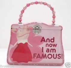 """Olivia The Pig Toy Tin Purse with Pretty Pink Beaded Handle """"And Now I Am Famous"""" -cute!"""