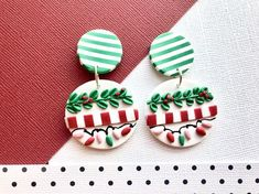 Christmas Polymer Clay Earrings / Xmas Holiday Ugly Sweater Party Candy Canes Tree Lights Wreath Holly Green Stripes White Red Dangles – Hobbies paining body for kids and adult Diy Clay Earrings, Polymer Clay Necklace, Polymer Clay Pendant, Polymer Clay Charms, Handmade Polymer Clay, Earrings Handmade, Polymer Clay Ornaments, Polymer Clay Flowers, Polymer Clay Projects