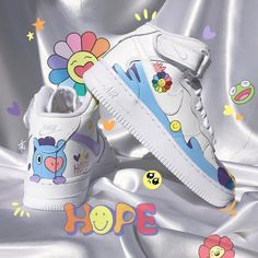 BTS J-Hope 'Hobi' Custom Nike AF1 Shoes Aesthetic Shoes, Aesthetic Clothes, Bts J Hope, Af1 Shoes, Basket Sneakers, Bts Clothing, Nike Af1, Indie Kids, Hype Shoes