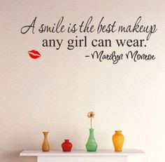 Smile Makeup Marilyn Monroe Quote Vinyl Decal - Home Decor - marketplacefinds  - 1
