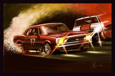 Automotive Art Muscle Car Red Camaro 16x24 Metallic Print on Etsy, $65.00