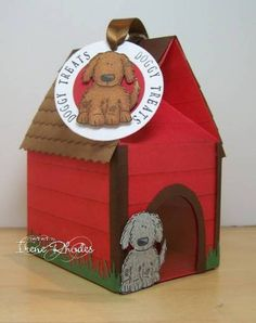 The dog house door is covered with acetate so you can see the dog treats inside when it is filled.or for valentine i ruff you Mini Milk, Milk Box, Puppy Party, Dog Cards, Carton Box, Treat Holder, Pretty Box, Valentine Box, Stamping Up