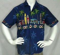 Winnie Fashion Ford Woodie Surf Board Palm Floral Men's Sz M Hawaiian Shirt USA