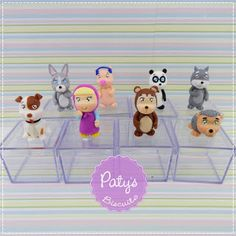 Caixinhas decoradas Masha e o Urso  - Festa Infantil - Paty's Biscuit Pasta Flexible, Biscuits, Character, Acrylic Box, Interesting Stuff, Crafts For Children, Masha And The Bear, Themed Parties, Candles