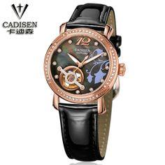 164.36$  Watch here - http://aliuzs.worldwells.pw/go.php?t=32757437780 - CADISEN Luxury Watch Women Gold Women Watches Luxury Brand 2016 Leather Automatic Mechanical Watch Women Clock Reloj Mujer 2016 164.36$