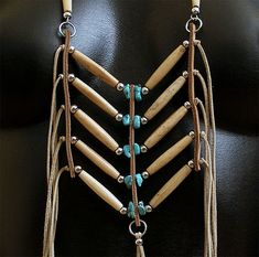 Boho/Southwestern bone hairpipe necklace inspired by by NessSolo