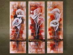 Ručne maľovaný obraz KVETY 3 dielny  5982FA