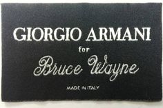 "Labels for Bruce Wayne's Suits for ""The Dark Knigh Rises"""