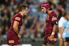 Cooper Cronk Photos - Johnathan Thurston of the Maroons talks to Cooper Cronk of the Maroons, who is sent to the sin bin during game three of the State Of Origin series between the New South Wales Blues and the Queensland Maroons at ANZ Stadium on July 13, 2016 in Sydney, Australia. - State Of Origin III - NSW v QLD Johnathan Thurston, Rugby Time, Sydney Australia, South Wales, Legends, Blues, Baseball Cards, Game, The Originals