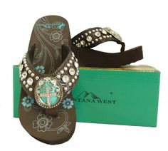 Montana West Women Flip Flops Wedged Sandals Turquoise Stone Pewter Cross Coffee