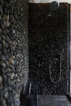 dark stone shower. so gorgeous.