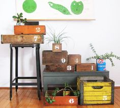 love this, numbering old crates/drawers and stenciling numbers onto them