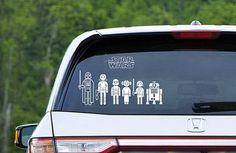 Star Wars Family Car Decal Set - LOVE THIS!  Choose from 50 Characters and it's super cheap...  www.time2saveworkshops.com