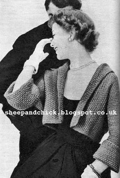 The   Vintage   Pattern   Files: 1950's Knitting - Cropped Jacket & Angora Collar