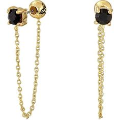 Sam Edelman Stone Front Back Chain Earrings (Black/Gold) Earring ($21) ❤ liked on Polyvore featuring jewelry, earrings, gold, gold chain earrings, sam edelman, gold chain jewelry, chains jewelry and yellow gold jewelry