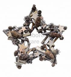 Whitewashed Star with Star Decs Star Decorations, Garlands, Star Fashion, Woodland, Christmas Wreaths, Clock, Stars, Wreaths, Watch