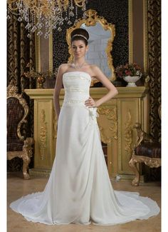 3e0ffc0e8d19 Strapless Beading A Line Chiffon Ivory Wedding Party Dresses Wedding Dresses  With Flowers