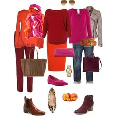 """Ensemble: Dark Red with Pink & Orange"" by youlookfab on Polyvore"