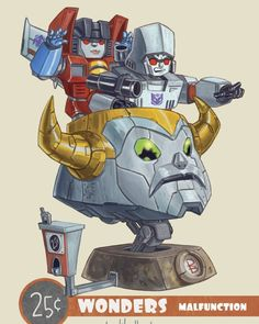"""regram @patrickballesteros It's time for #25centFridays we just hope these kids can make it to the weekend without having a """"Major Malfunction."""" #designercon #patrickballesteros #25centwonders #transformers #morethanmeetstheeye #dcon2015 #dcon"""