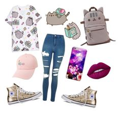 """#PVxPusheen"" by kaydabae4life ❤ liked on Polyvore featuring Pusheen, Topshop, Converse, Chicnova Fashion, Lime Crime, contestentry and PVxPusheen"