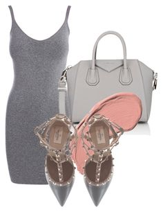 """""""Untitled #108"""" by laurenmq ❤ liked on Polyvore featuring Pieces, Givenchy, NYX, Valentino, dress, valentino, grey and pastel"""