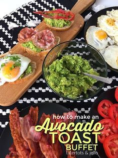 Make Easy Avocado Toast Avocado Toast Buffet. Avocado Toast is a healthy and delicious breakfast idea. There all of the different toppings you can add, see what your guests create! Brunch Buffet, Breakfast Buffet, Breakfast Ideas, Breakfast Recipes, Clean Eating Snacks, Healthy Snacks, Healthy Breakfasts, Healthy Eating, Simple Avocado Toast