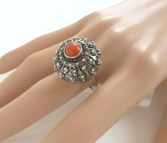 Amazing Vintage Natural Red Coral 800 Silver Dome Ring Size 8 Originates from Poland, Size: 8 Metal: 800 Silver Ring setting measurements: in diameter and high Size of coral: Natural Red, Red Coral, Class Ring, Silver Rings, Metal, Handmade, Jewelry, Jewels, Ethnic