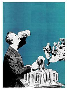 Le Buveur de Bière - Affiche d'Art de la collection vintage de Slap Boutique : Le Grenier