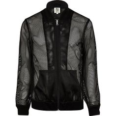e35f28195c5d Black RI Studio mesh bomber jacket - ri studio - men River Island Fashion,  Mens