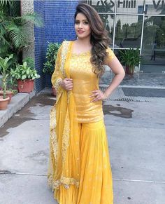 Beautiful Indian Wedding Dress Readymade Sharara, Kurta, Dupatta New Yellow Suit Desi Wedding Dresses, Bridal Mehndi Dresses, Mehendi Outfits, Party Wear Dresses, Pakistani Dress Design, Pakistani Dresses, Indian Dresses, Pakistani Mehndi Dress, Sharara Designs